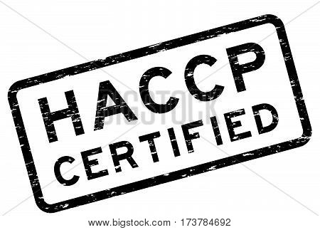Grunge black HACCP (Hazard Analysis and Critical Control Point) square rubber stamp