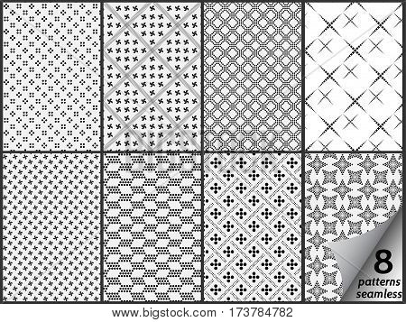 Vector set of eight monochrome seamless patterns. Modern stylish texture. Repeating geometric tiles with dotted rhombuses. Simple dotted patterns. Seamless vector collection. Black and white texture.