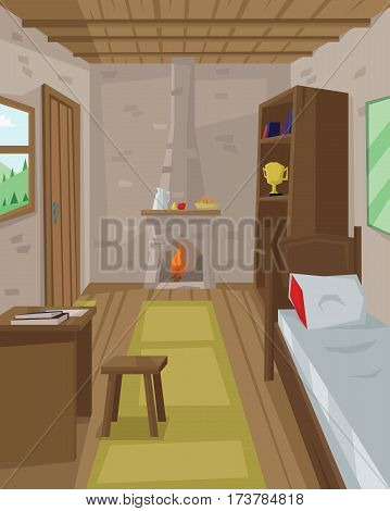 Digital vector abstract background with a wooden house interior with book shelves, fireplace, table, bed, window, flat triangle style