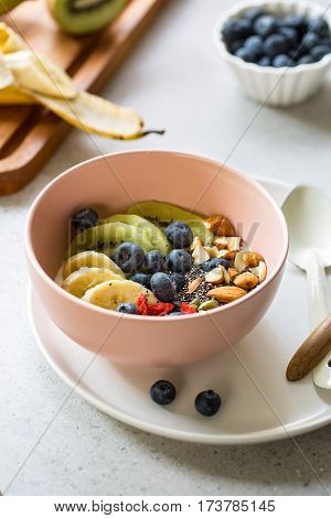 Blueberries,Kiwi,Almond,Goji berries and Chia seed on Greek yogurt