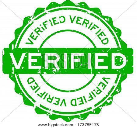 Grunge green verified round rubber seal stamp