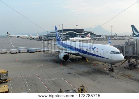 HONG KONG - AUG. 29, 2016: ANA Boeing 767-381ER at Hong Kong International Airport Chek Lap Kok Airport.