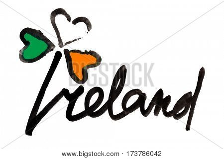Ireland. Four leaf Irish clover with colors of the Ireland flag and lettering - Raster illustration