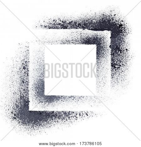 Black stenciled squares - abstract geometric background -- raster illustration