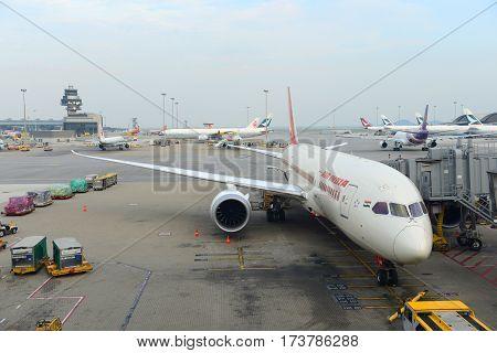 HONG KONG - AUG. 29, 2016: Air India Boeing 787-800 at Hong Kong International Airport Chek Lap Kok Airport.