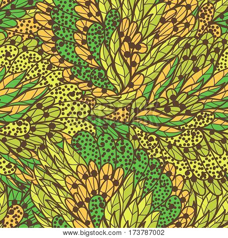 Seamless floral orange and green bright summer doodle pattern
