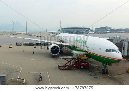 HONG KONG - AUG. 29, 2016: Eva Air Boeing 777-36NER at Hong Kong International Airport Chek Lap Kok Airport.