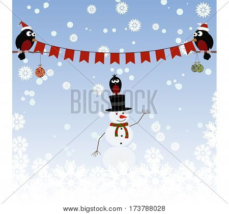 Greeting card with a snowman and bullfinches
