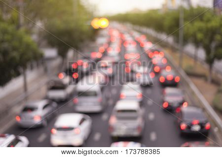 defocus rush hour traffic jam in ratchayothinbangkokthailand