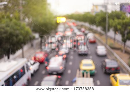 defocus rush hour traffic jam in ratchayothinbangkokthailand