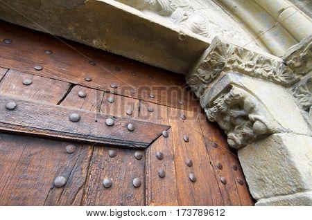 romanesque front in spanish church, Nuestra Senora de Baldos, Montanana, Huesca Province, Aragon, Spain.