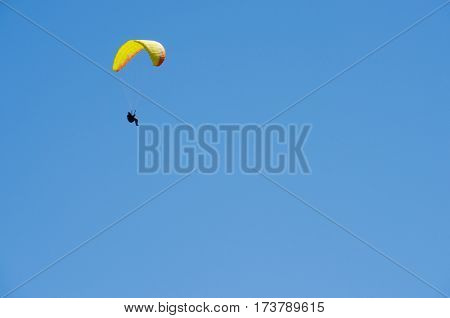Paragliding flying in Mont Blanc Massif, Alps, Chamonix, France
