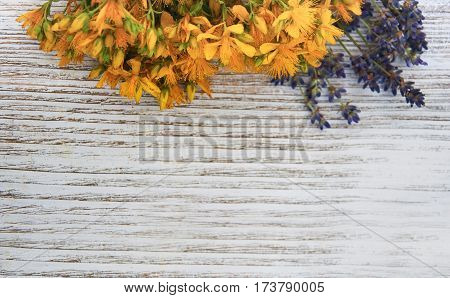 Saint-John's-wort flowers and lavender on a old wooden table