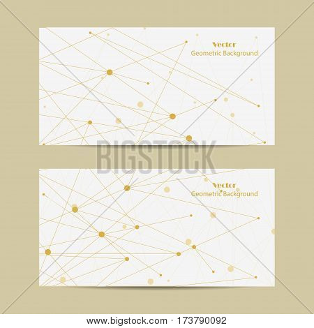 Set of horizontal banners. Geometric pattern with connected lines and dots. Vector illustration.