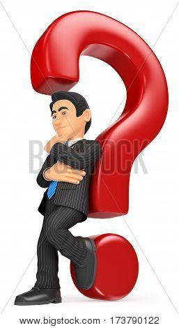 3d business people illustration. Businessman leaning on a question mark. Doubt concept. Isolated white background.