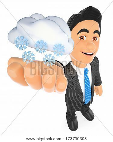 3d business people illustration. Weather man with cloud and snow. Snowing day. Isolated white background.
