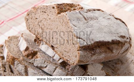 close up of traditional bread cut into slices