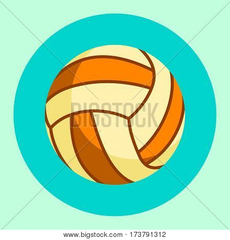 Volleyball ball icon. Colorful volleyball ball on a turquoise background. Sports Equipment. Vector Illustration