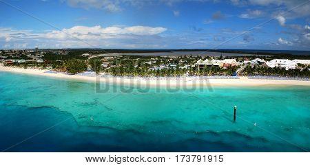 The panoramic view of tourist beach on Grand Turk island (Turks & Caicos).