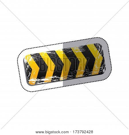 sticker emblem striped hazard tape line construction design vector illustration
