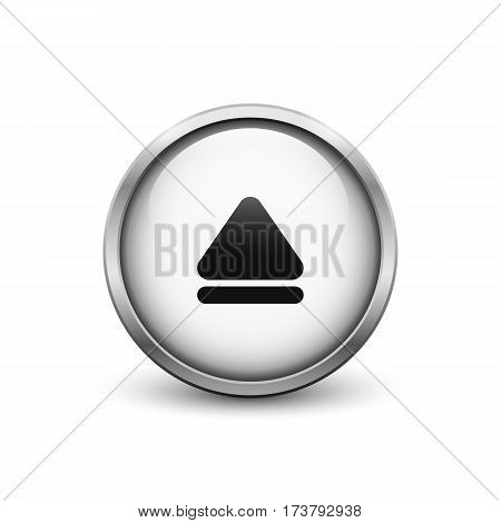 'Eject' white button with metal frame and shadow