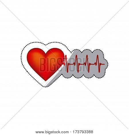 sticker heart shape with beats and signs life vector illustration