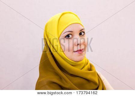 Beautiful Arabian Woman Fashion Arabic style Hijab.