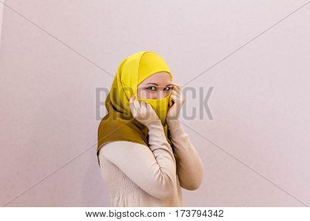 Portrait of beautiful Arabian Woman wearing Hijab Muslim Woman wearing Hijab