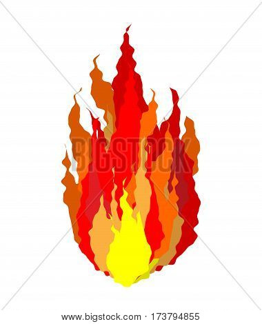 Fire Isolated. Flames Sign On White Background