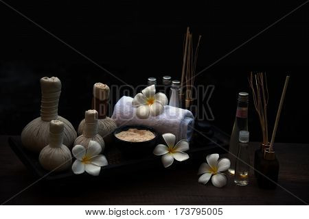 Spa Massage Compress Balls, Herbal Ball On The Wooden With Treaments Spa; Thailand, Soft And Select