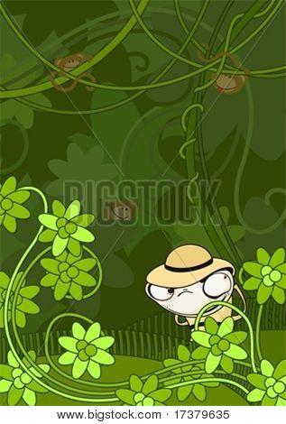 illustration of the artful spiteful hunter in jungle