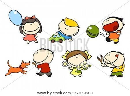 set of images of funny kids on a white background #1, playing theme