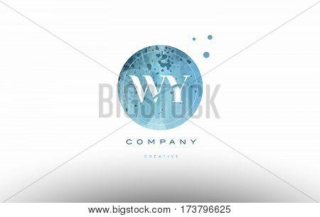 Wy W Y  Watercolor Grunge Vintage Alphabet Letter Logo