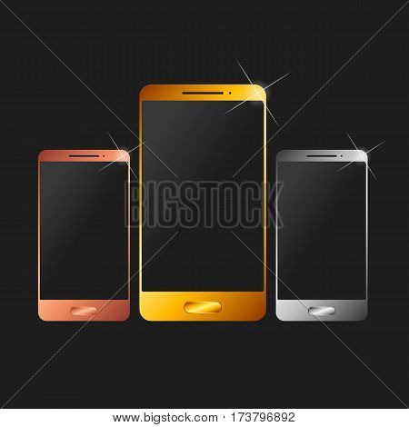 Mobile phone. Silver, bronze and gold vector illustration