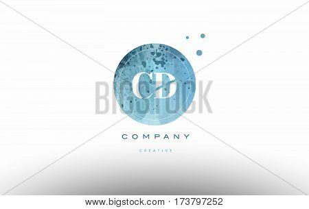 Cd C D  Watercolor Grunge Vintage Alphabet Letter Logo