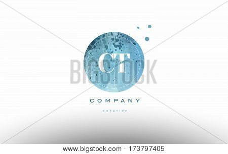 Ct C T  Watercolor Grunge Vintage Alphabet Letter Logo