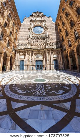 The courtyard of the Benedictine monastery of Santa Maria de Montserrat, near Barcelona, Spain