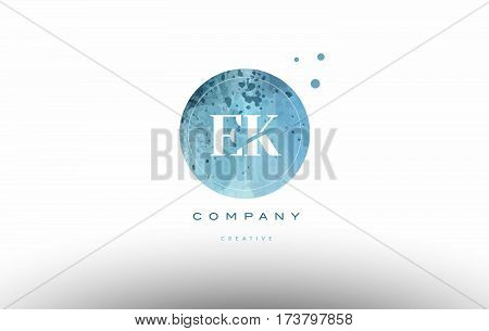 Ek E K  Watercolor Grunge Vintage Alphabet Letter Logo