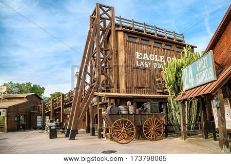 PORT AVENTURA/ SPAIN - MAY 11, 2015.  Attractions Crazy Barrels and Wild Buffalos in the Far West area of theme park Port Aventura in city Salou, Spain.