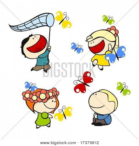 set of images of funny kids on a white background #9, butterflies theme