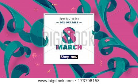 Festive frame decorated with abstract floral elements. Limited offer 50 percent off. Special design for Mother's day, 8 March and Easter. Vector card with purple background