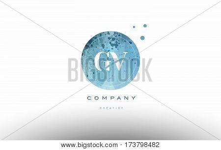 Gv G V  Watercolor Grunge Vintage Alphabet Letter Logo