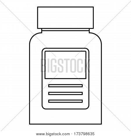 Pill bottle icon. Outline illustration of pill bottle vector icon for web