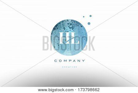Hl H L  Watercolor Grunge Vintage Alphabet Letter Logo