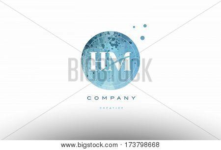 Hm H M  Watercolor Grunge Vintage Alphabet Letter Logo