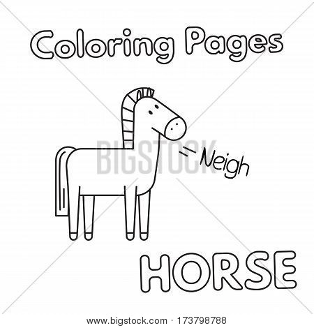 Cartoon horse illustration. Vector coloring book pages for children