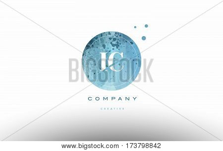 Ic I C  Watercolor Grunge Vintage Alphabet Letter Logo