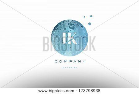 Ik I K  Watercolor Grunge Vintage Alphabet Letter Logo