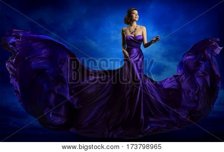 Woman Fashion Dress Blue Art Gown Flying Silk Fabric Elegant Model in Waving Purple Cloth