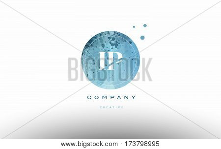 Ip I P  Watercolor Grunge Vintage Alphabet Letter Logo